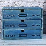 Caja de almacenamiento para el hogar Caja de almacenamiento vintage Cajón de madera Capacidad múltiple Capacidad de cojinete fuerte para la mesa de la sala de estudio-5043-02- (TRES DIBUJOS) -BLUE