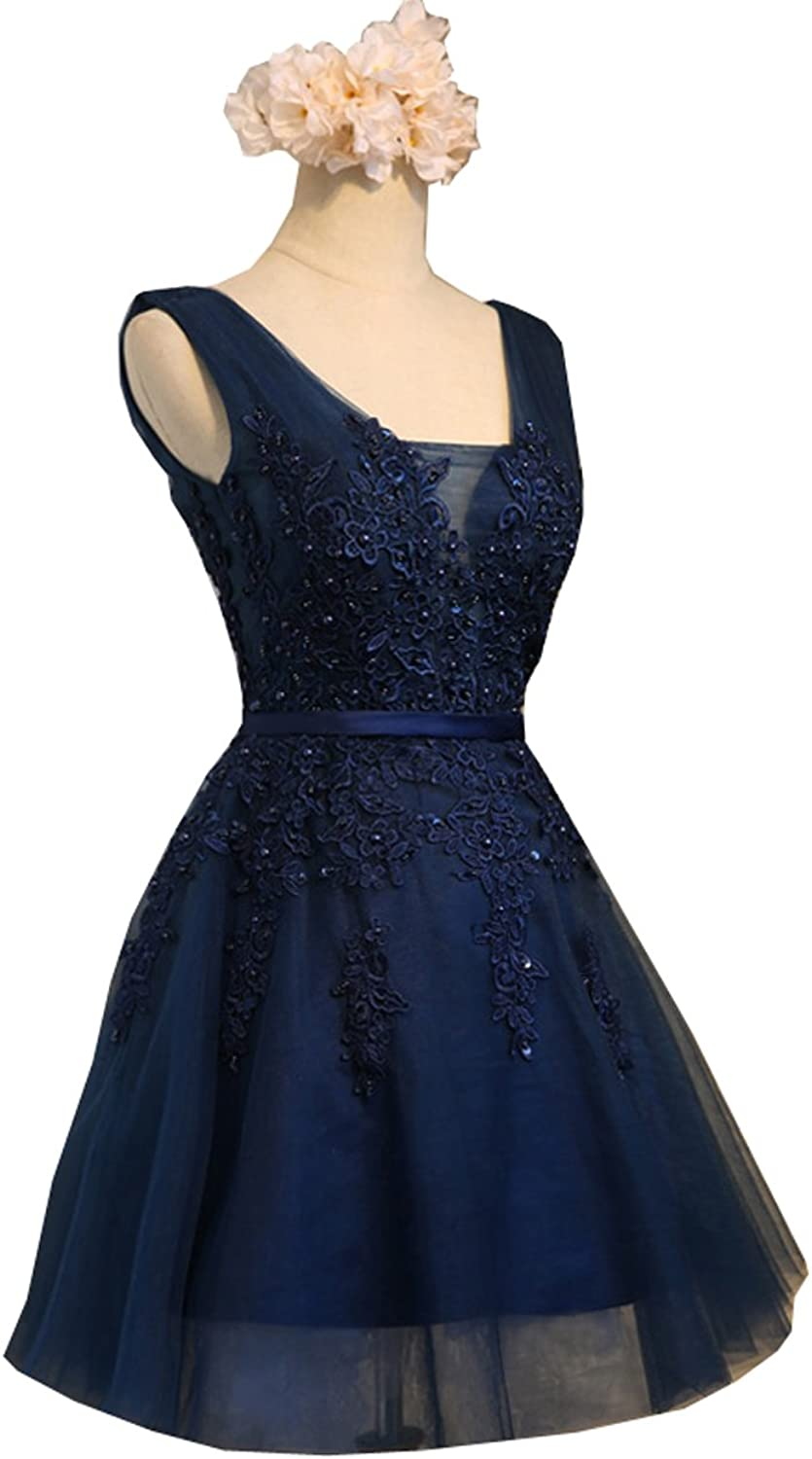 QiJunGe Short Prom Homecoming Dresses Beaded Formal Gowns with Lace Up Back