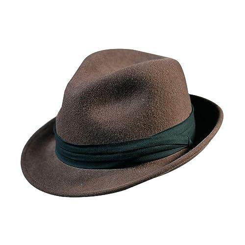 6fb537cc5b312 Wool Fedora Hat-Homburg Man s Felt Manhattan Short Brim Trilby Cap for Women  and Men