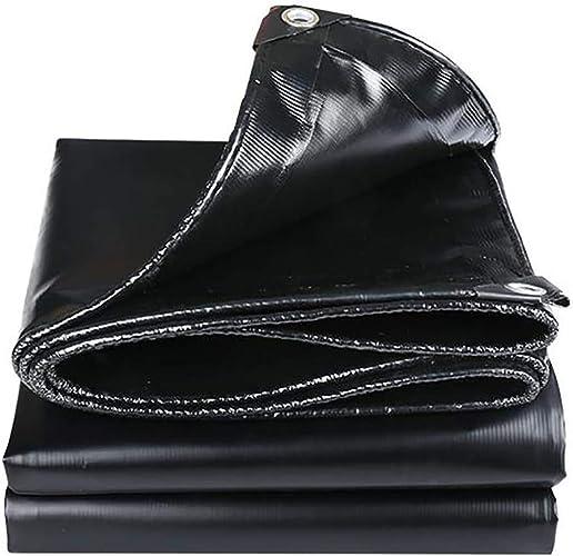 Sisizhang Bache avec Oeillets, bache imperméable pour Usage extérieur, Couverture de remorque pour Tente moulue, Noir 500G   M2