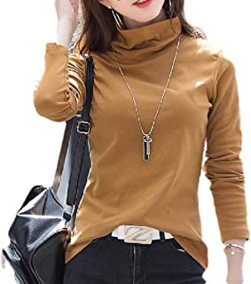 HTOOHTOOH Womens Blouse Top Long-Sleeve Slim Solid Turtle Neck Warm Tops