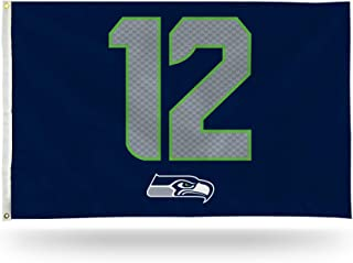 Rico Industries NFL Seattle Seahawks 3-Foot by 5-Foot Single Sided Banner Flag with Grommets, Navy, 3' x 5'