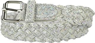 女童腰带 - Belle Donne 彩色金属闪光编织人造革皮带