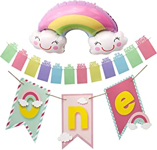 First Birthday Decorations Girl Rainbow One High Chair Banner Colorful 12 Month Photo Banner, Rainbow Clouds High Chair Decorations for 1st Birthday and 1st Birthday Photo Banner Monthly Milestone Banner