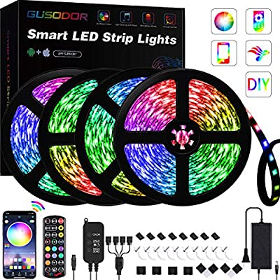 GUSODOR LED Strip Lights 65.6ft RGB Light 5050 LEDs Tape Strips Rope Light Music Sync Colors Changing with 24-Key Remote + Bluetooth Controller for Home TV Party - Smart APP Controlled [ Black Kit ]