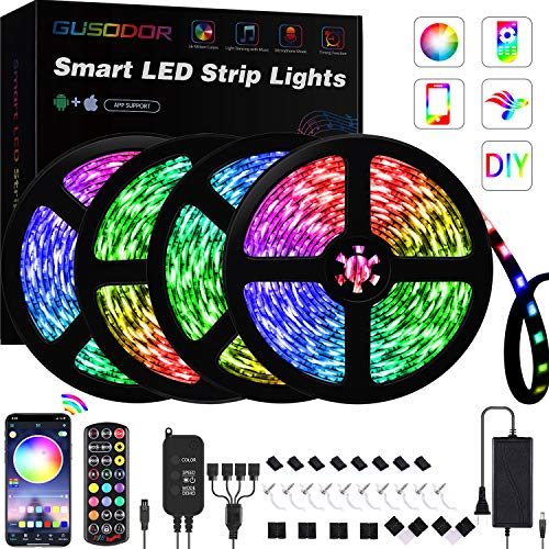 65.6FT LED Strip Lights , GUSODOR RGB Light 5050 LEDs Tape Strips Rope Light Music Sync Colors Changing with 24-Key Remote for Home Bedroom TV Party Christmas - Smart APP Controlled [ Black Kit ]
