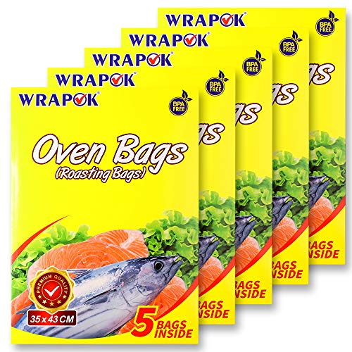 WRAPOK Oven Cooking Turkey Bags Medium Size Ribs Baking Roasting Bags No Mess For Chicken Meat Ham Poultry Fish Seafood Vegetable - 25 Bags (14 x 17 Inch)