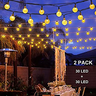 Binval Solar String Lights for Outdoor Patio Lawn Landscape Garden Home Wedding Holiday decorations[19.7feet - 6m - 30LED-Warm White 2-pack]