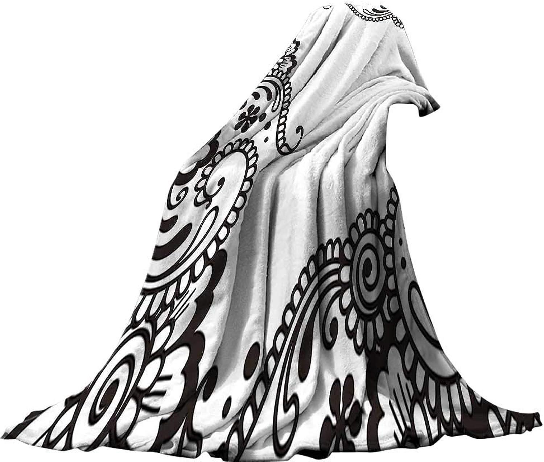 QINYAN-Home Digital Printing Blanket (80 x60 ) Summer Quilt Comforter Floral Embellished Flower Pattern with Traditional Arabesque Eastern Effects Boho Design Black White.