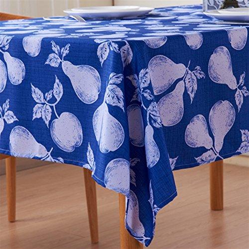 Liveinu Nappe Rectangulaire Tissu de Table Lavable Entretien Facile Résistant Imperméable Anti-tâche Nappe de Table pour Picnic Cuisine Jardin Terrasse Balcon 90x145cm Bleu