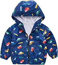 Mousmile Toddler Kid Baby Girls Boys Lightweight Trench Coat in Autumn Winter Cartoon Pattern Windproof Hooded Jacket Outfits