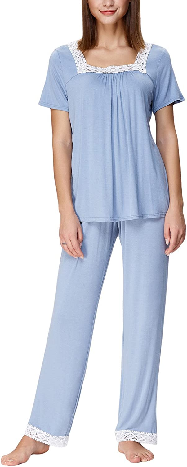 Women Loungewear for Spring Short Sleeve Pajamas with Pants Light bluee S ZE1282