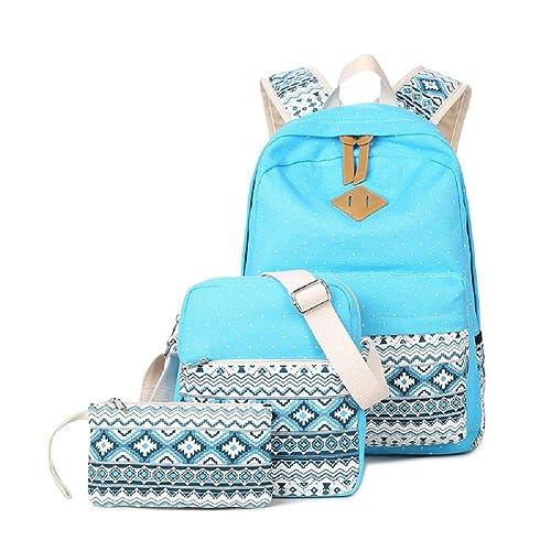 6cae8b2adc9e Abshoo Canvas Dot Backpack Cute Teen Girls Backpacks Set 3 Pcs School  Bookbags
