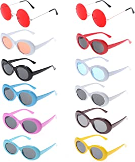 12 Packs Oval Clout Goggles Hippie Sunglasses for Women,Men,Kids,Teenagers