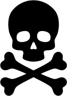 """Minglewood Trading White - Skull and Crossbones 5"""" x 3.5"""" Vinyl Decal Sticker - Death's Head - Skeleton - Pirate - 20 Color Options"""