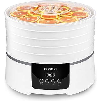 COSORI Dörrautomat Dörrgerät für Lebensmittel Fleisch Früchte Gemüse, 35°-75°C, 48h-Timer, 450 Watt Obsttrockner, Rund Dörrgerät mit 5 Einlegefächer, Dehydrator Food, 50 Rezepte, BPA frei