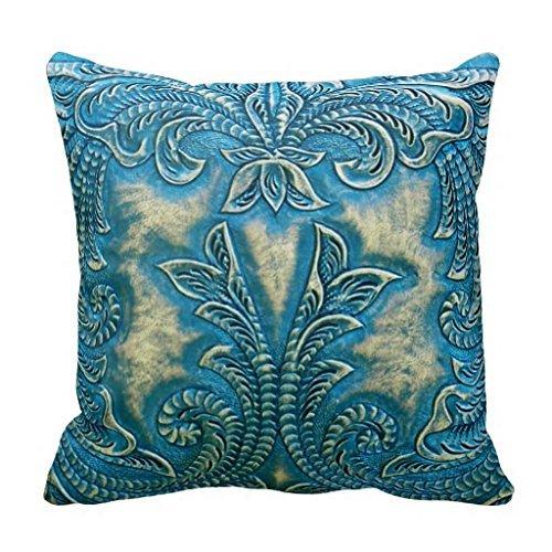yting Taie d'oreiller Floral en Cuir repoussé Turquoise et Havane pour Chaise Longue, Divan, extérieur, Chaise Longue, pub, Famille 18\