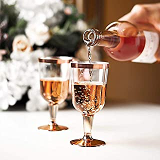 JMcall Plastic Wine Glass Disposable Cup Durable Party Wedding Plastic Cup 190ML 6PC(Color:Pink,Gold & Material:Plastic)