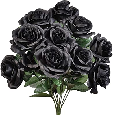 72 Open Roses BLACK Long Stem Silk Rose Wedding Bouquets Centerpiece Flowers