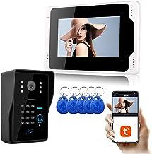 Tuya WiFi-videodeurbel, intercom, RFID-kaartwachtwoord Home Security Video-deurtelefoon, 7-inch monitordisplay + 1080P nac...