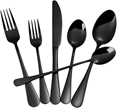 Black Silverware Set,24-Piece Stainless Steel Flatware Set,Cutlery Tableware Set for 4,Utensils for Kitchens,Mirror Finish,Di