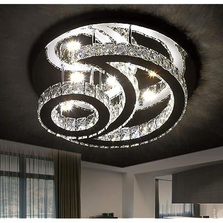LED Deckenleuchte Wohnzimmer Kristall Deckenlampe Moderne Dimmbare Mit Fernbedienung Deckenlicht Schlafzimmer Edelstahl Spiegel Pendelleuchte Esstischlampe Kronleuchter Dekoration Beleuchtung,26*20cm