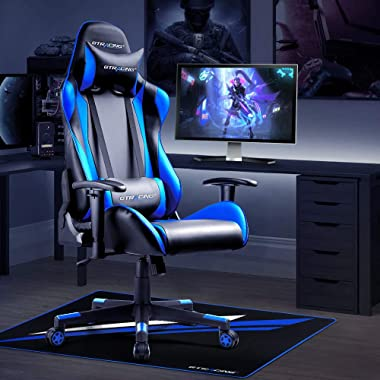 Gtracing Gaming Chair Mat for Hardwood Floor 43 x 35inch Office Computer Gaming Desk Chair Mat for Hard Floor Blue