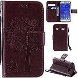 Ooboom® Funda para Samsung Galaxy Core Prime Flip Wallet Case Cover Carcasa Piel PU Billetera Soporte con Ranuras Tarjetas Cierre Magnético - Marrón