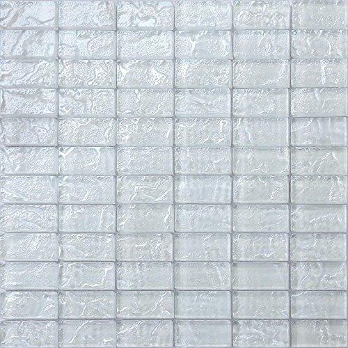 Bianco Textured Lava Vetro mattoni Mosaico Piastrelle foglio (mt0118)