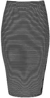 Womens Slim Cut High Waist Elastic Shirring Midi Pencil Skirt Adjustable Length - Mini to Midi