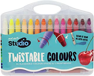 Mont Marte Studio Twistable Colors 37 Piece. Includes 36 Water Blendable Painting Sticks and a Paint Brush Silky Smooth Te...