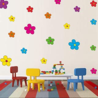Primary Color Flower Wall Decals for Girls Room Multiple Colors Kids Wall Decor Colorful Nursery Wall Art Stickers (47 Cou...