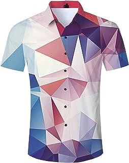 Cutemefy Men's Hawaiian Shirt Aloha Tropical Print Floral Short Sleeve Button Down Shirt