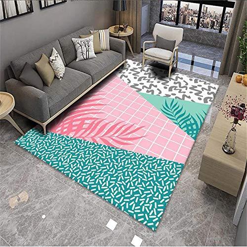Teppich Jugendzimmer Jungen Orientalische dreifarbige Mosaik Schlafzimmer Wohnzimmer Garderobe Korridor Teppich Auslegware Kinderzimmer Auslegware pink 180X200CM