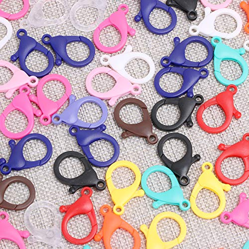 TXIN 200 Pcs Plastic Lobster Clasp Lanyard Clips Masks Snap Hooks, Cute Colorful Lanyard Hooks Snap Clips Fasteners Hard Lobster Claw Clasps for Keychains Key Ring Bags DIY Crafts Toys Multi-Colored