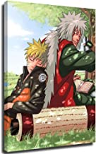 """STTYE Naruto Shippuuden 3D Oil Painting Naruto and Jiraiya 12"""" x 18"""" Framed Wall Art for Home Wall,Stretched and Ready to ..."""