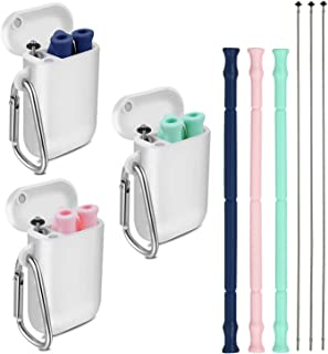 3pcs Longzon Reusable Collapsible Silicone Straws, Foldable Portable Drinking Straws with Carrying Case and Cleaning Brushes, BPA free, FDA Certified – Blue, Green & Pink