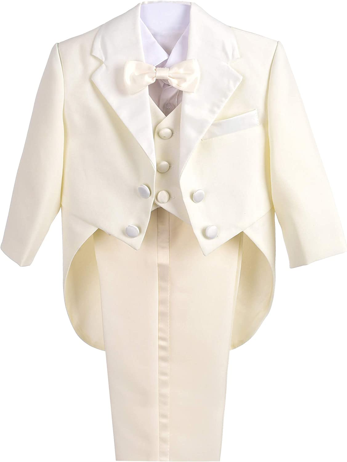 Lito Angels Baby Boys' Classic Tuxedo with Tail Wedding Outfits Suit 5 Piece Set 039
