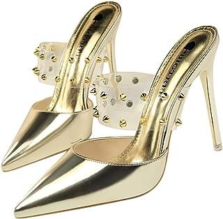 GLJJQMY High Heels Fashion Shallow Mouth Hollow Transparent Metal Rivets Women's Shoes 10.5 cm Women's Sandals (Color : Gold, Size : 34)