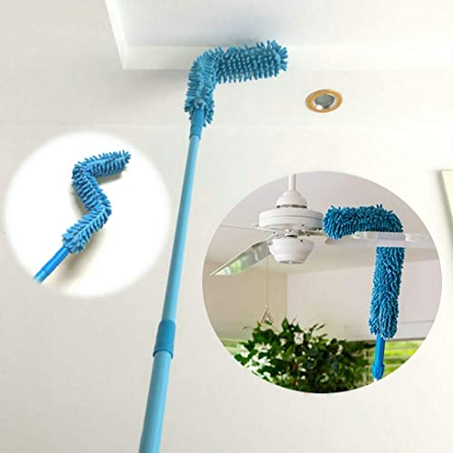 DOZZBY with DB Foldable Microfiber Fan Cleaning Duster Steel Body Flexible Fan mop for Quick and Easy Cleaning of Home Kitchen Office Fan Car Ceiling and Fan Dusting with Long Rod Blue