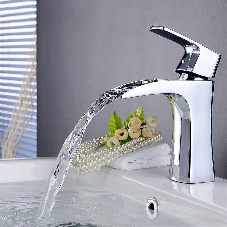 MNLMJ Einfache kupferne heie und kalte Wasserhhne Küchenarmatur Heisse und kalte Wasserhahn Einhand-Doppelsteuerung Doppelwasserfall Wasserhahn vollKupfer Beckenmischer Geeignet für Badezimmerküche