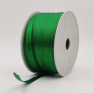 Ajanta   Satin Striped Ribbon Green (10 Meters, 6mm) for Bridal Gift wrap, Wrapping Bows, Gift Bows, Christmas Bows, Party...
