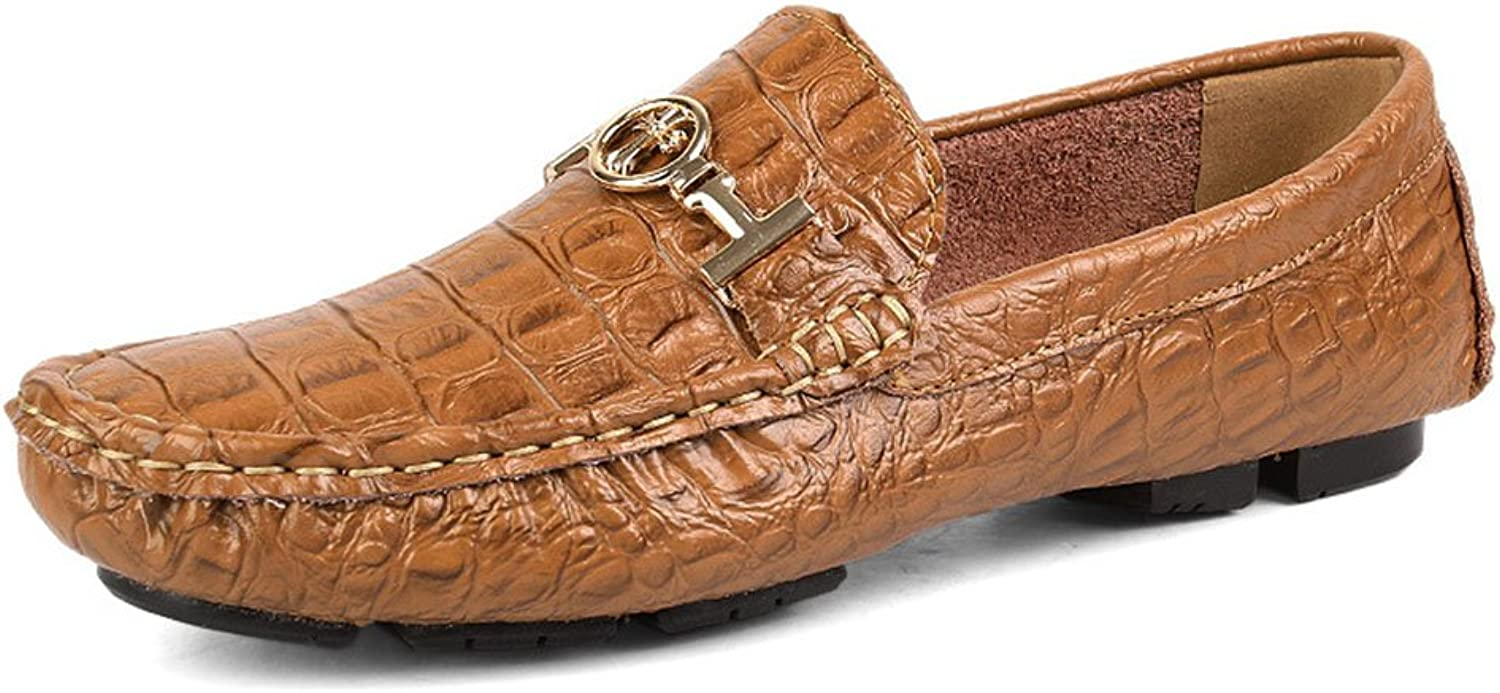 Men's Business shoes Men's Real Leather Moccasin British Driving Peas shoes Breathable Laofers (color   Brown, Size   41)
