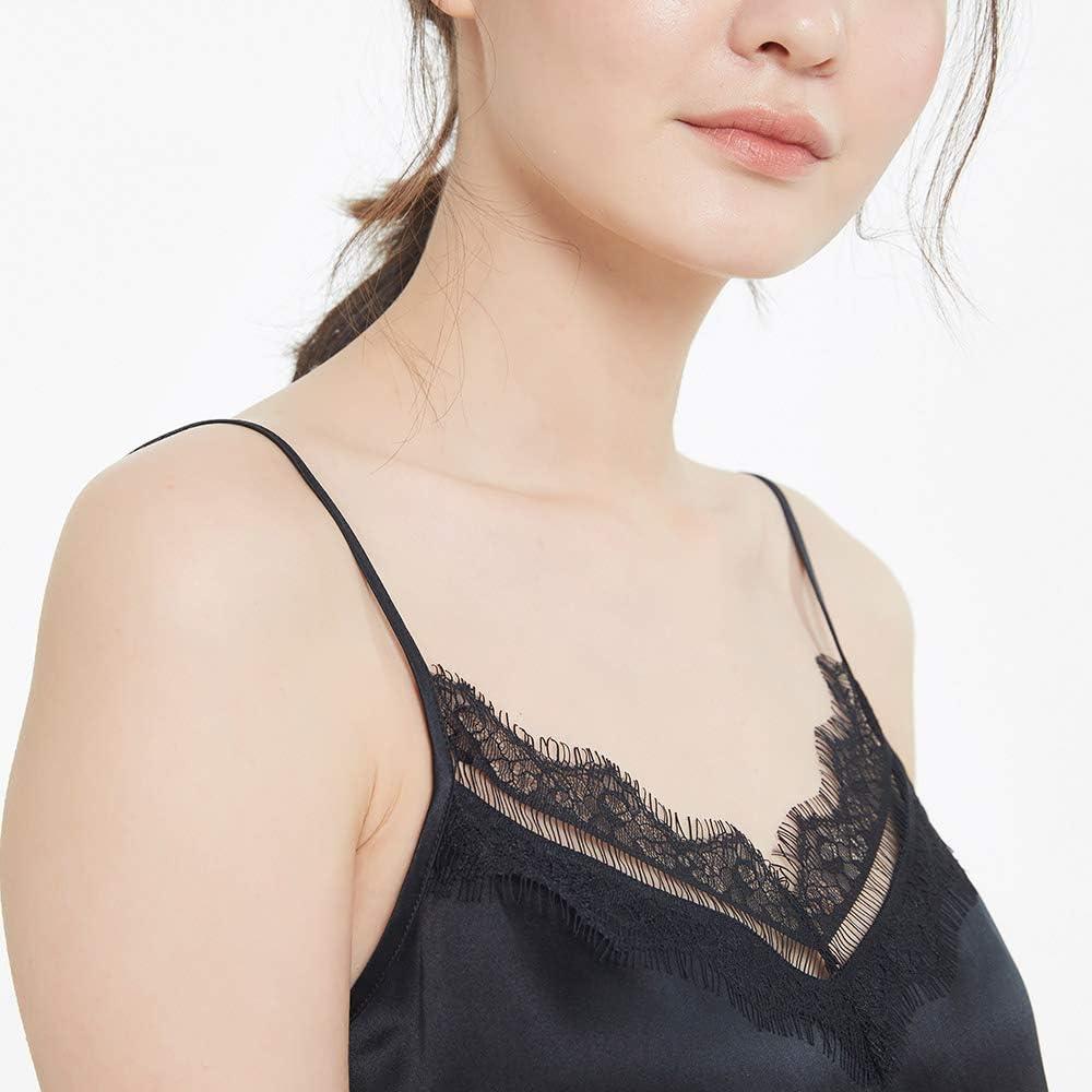 LilySilk Caraco Femme Pure Soie Top avec Dentelle Fines Bretelles D/ébardeur Basique en Soie 22MM