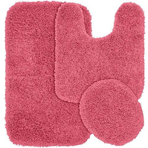 Garland Rug 3-Piece Jazz Shaggy Washable Nylon Bathroom Rug Set, Pink