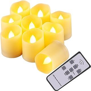 AMIR Flameless Candles, Flickering LED Tea Light Candles, Remote Votive Candles with 5 Brightness, 2 Speeds, Timer & Batte...