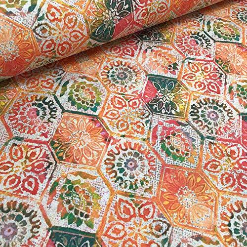 Kt KILOtela Tela de loneta Estampada Digital - Retal de 100 cm Largo x 280 cm Ancho | Floral geométrico - Naranja, Verde, Rosa ― 1 Metro