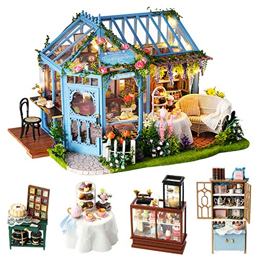 Spilay Dollhouse Miniature with Furniture,DIY Dollhouse Kit Plus Dust Cover & Music Box,1:24 Scale Creative Room Toys for Children Girl Birthday Gift for Lover and Friends(Rose Garden Tea House)