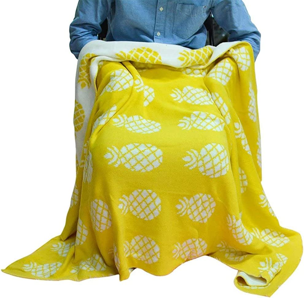 Yellow Pineapple Throw Blanket Cotton Summer Virginia Beach Mall Indianapolis Mall Kids Bed Cozy Couch