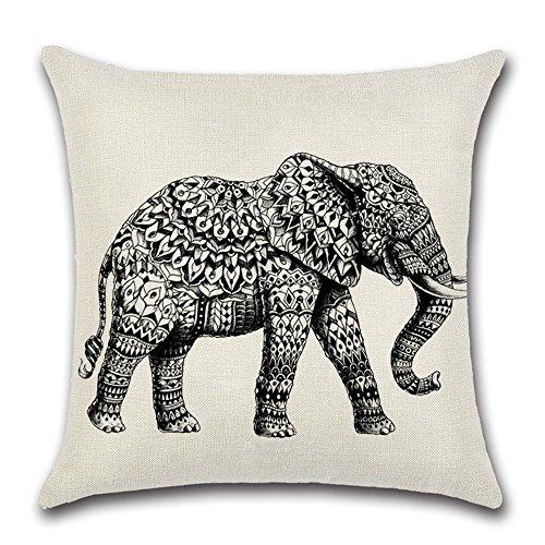 Quadrata Federe Protettive per Cuscini Cuscino Coperture Copricuscini Decorativi Auto Divano Sedia Decorazioni- Elefante,45x45cm